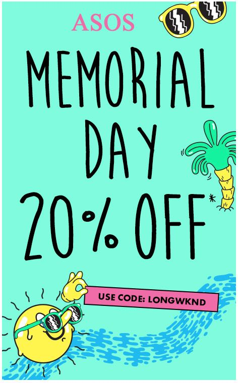 ASOS US & CA is celebrating Memorial Day with 20% OFF! Order now and save 20% with code: LONGWKND.
