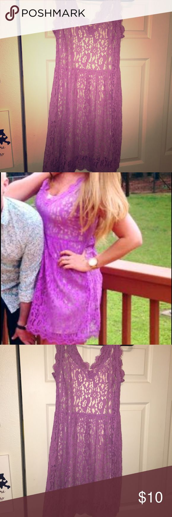 Purple lace dress with a gold underlay Lavender lace dress with a gold lining. Worn once Dresses Midi