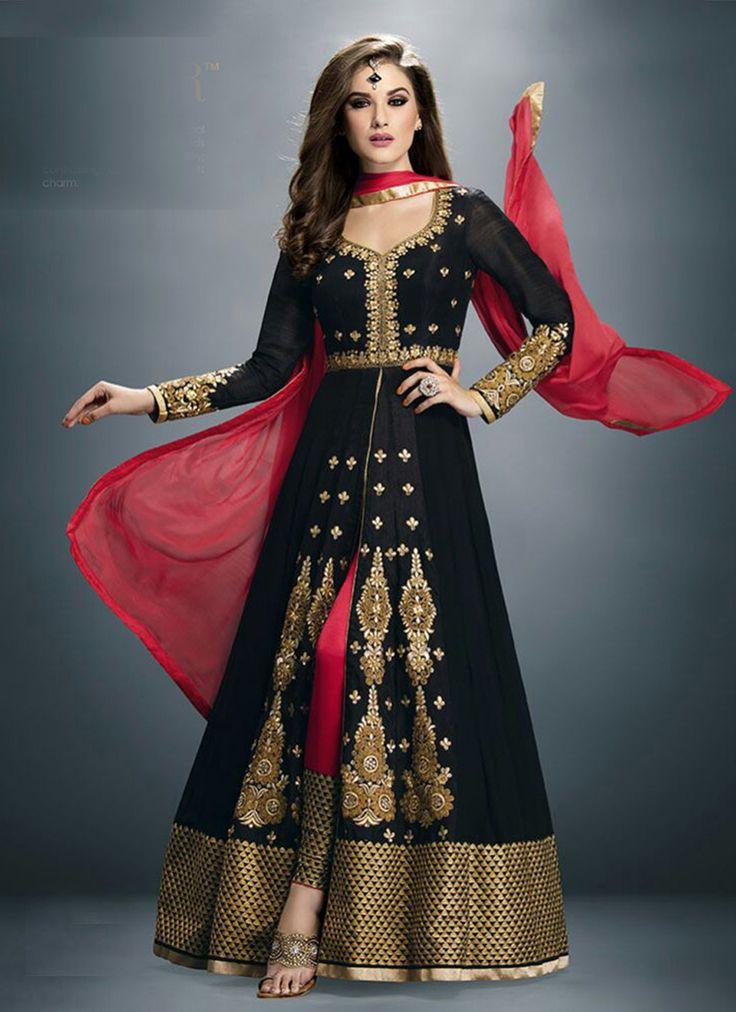 Black Faux Georgette Floor Length Anarkali Suit 63232
