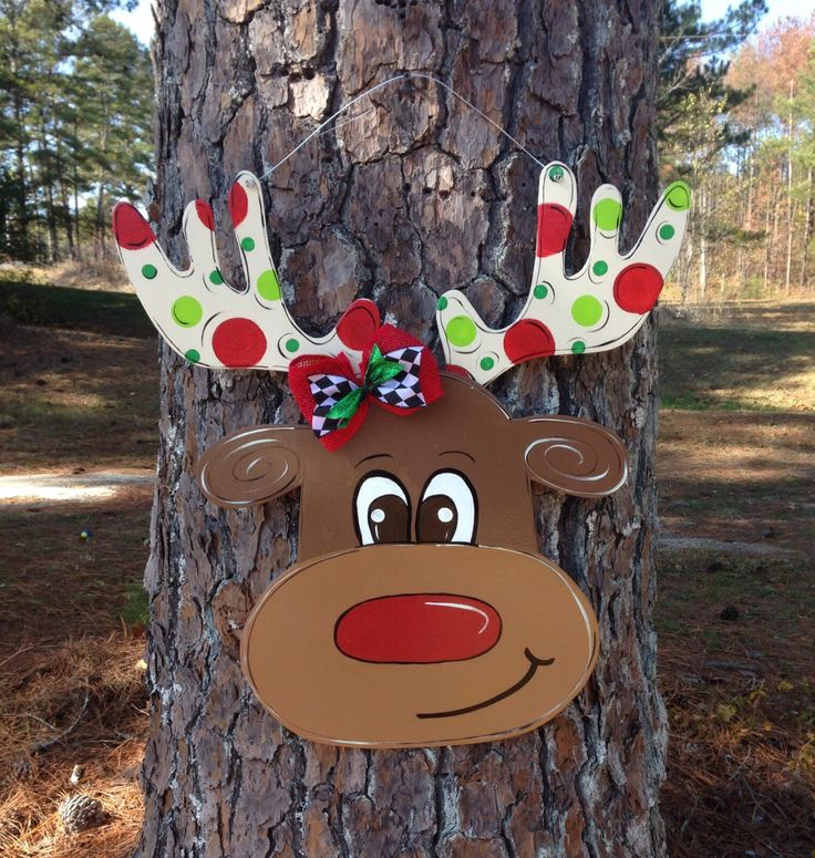 Reindeer door hanger,christmas door hanger,christmas door decor,whimsical door hanger,wooden door decor,small business saturday,cyber monday by Furnitureflipalabama on Etsy https://www.etsy.com/listing/211132183/reindeer-door-hangerchristmas-door