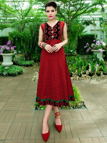 Peehu Red Anarkali Style Cotton Kurti Reference: Anarkali-08