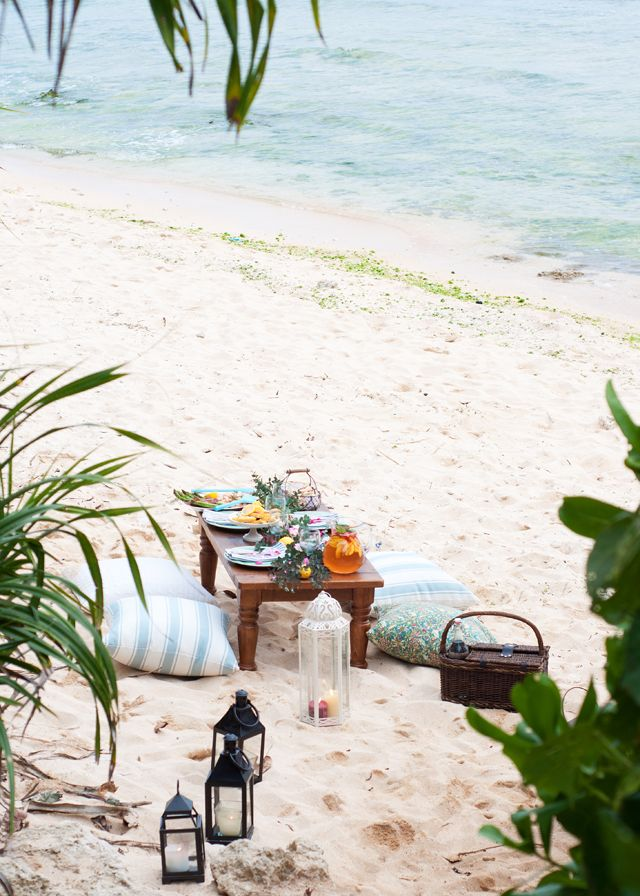 A picnic on the beach in Okinawa.