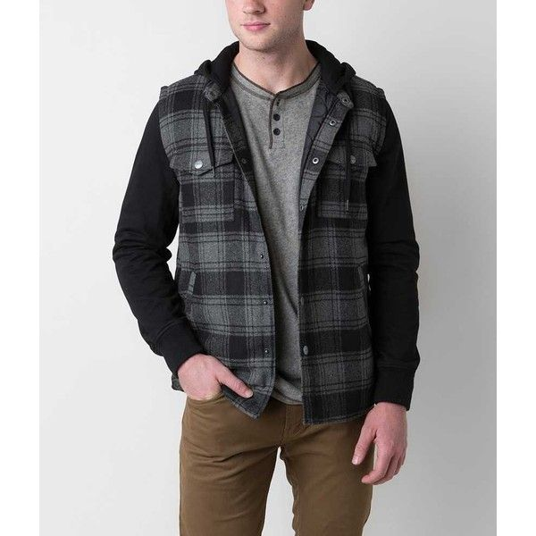 RVCA Grunge Jacket - Black/Grey Medium ($75) ❤ liked on Polyvore featuring men's fashion, men's clothing, men's outerwear, men's jackets, rvca mens jacket, mens tartan jacket, mens fleece lined jacket, mens grey jacket and mens short sleeve jacket