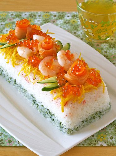 Juicy Sushi Cake with Crab for Doll Festival