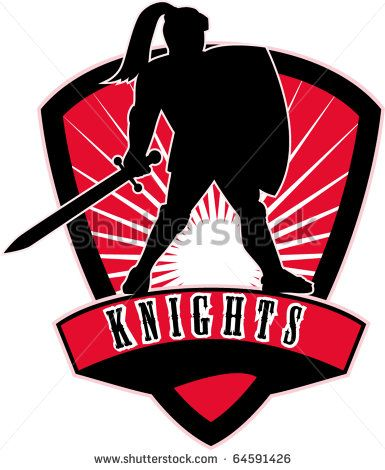 """vector illustration of Knight silhouette with sword shield side sunburst in background set inside shield with words """"Knights"""" suitable as mascot for sports sporting club  organization - stock vector #knight #silhouette #illustration"""