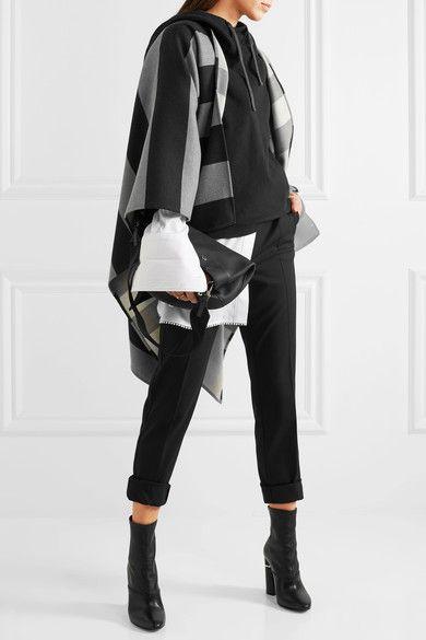 Burberry - Striped Merino Wool Cape - Gray - one size