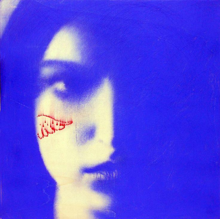 «Aveva gli occhi blu e quel blu mi entrò nel profondo e lì restò. Ero ipnotizzato. Uscii da me stesso e mi tuffai in quel blu...» [ #CharlesBukowski ]. #OmarGalliani, Blu oltremare, pigmenti su tavola, cm. 50x50.