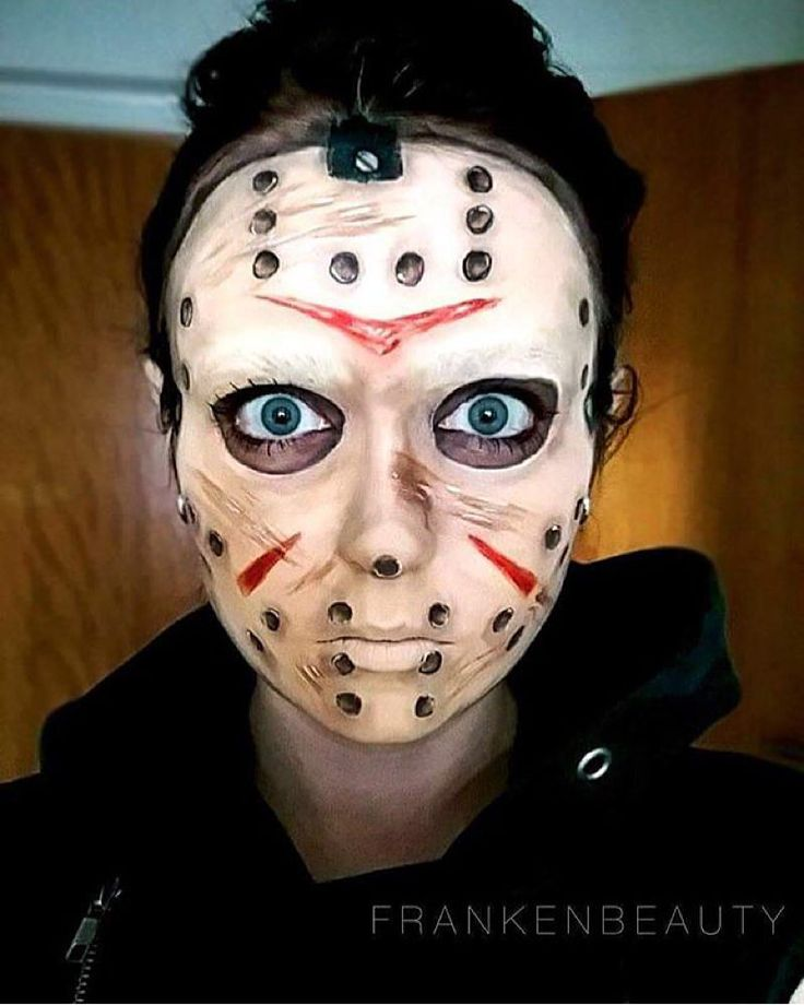 @frankenbeauty in her beautiful cosplay makeup of  Friday the 13th  JASON…