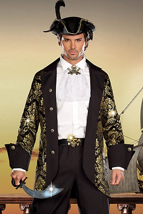 captain long sword costume men pirate - Good Halloween Costumes For Big Guys