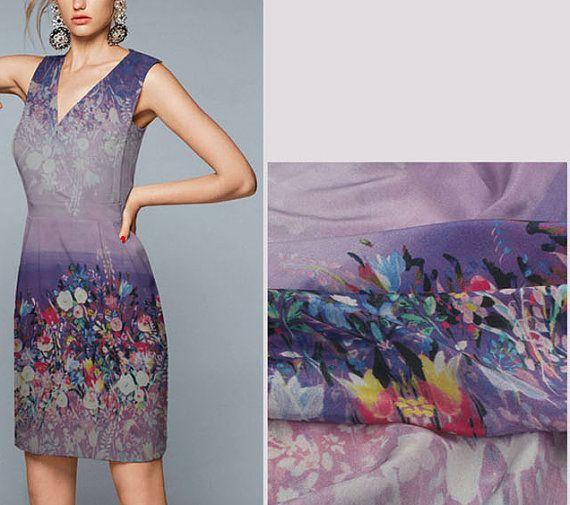 Romantic Purple Floral Silk Fabric. Lilac Silk. by fabricAsians