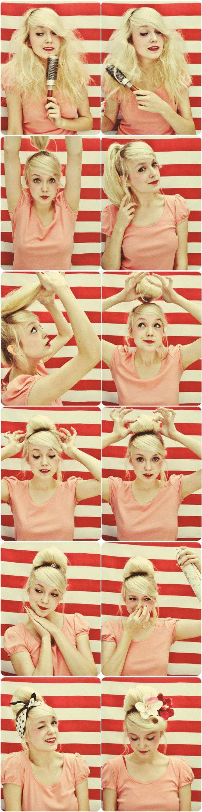 tuto-coiffure-année-50-cheveux-blonds-t-shirt-rose-accessoires-cheveux