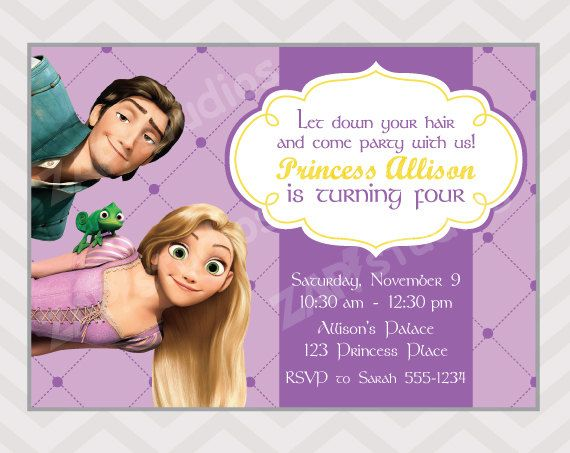 Rapunzel Invitation Tangled Birthday Party  Rapunzel by zapparty