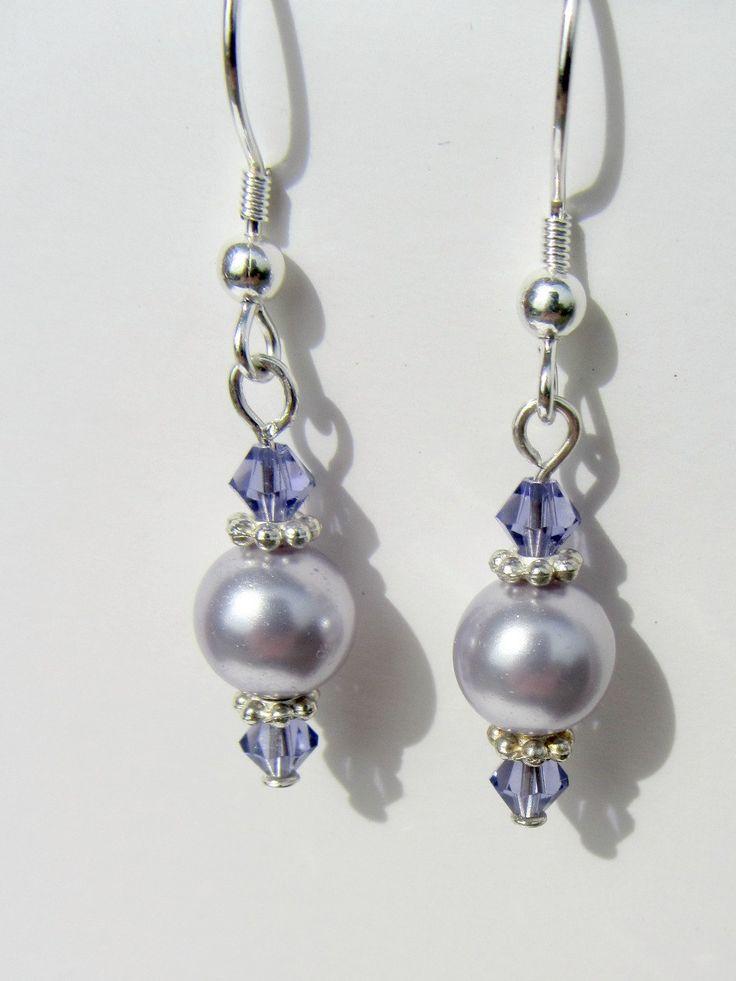 Lavendar Pearl Earrings Sterling Silver Purple Earrings Lavendar Dangle Earrings Light Purple Dangles Lilac Jewlry. $15.00, via Etsy.