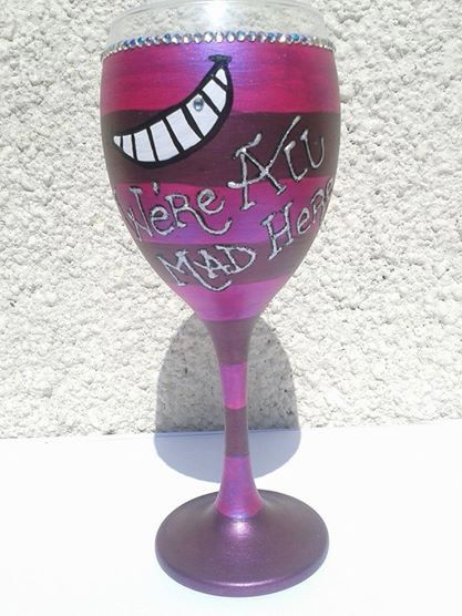 Alice in Wonderland, Cheshire Cat Inspired 'We're All Mad Here' Design Wine Glass