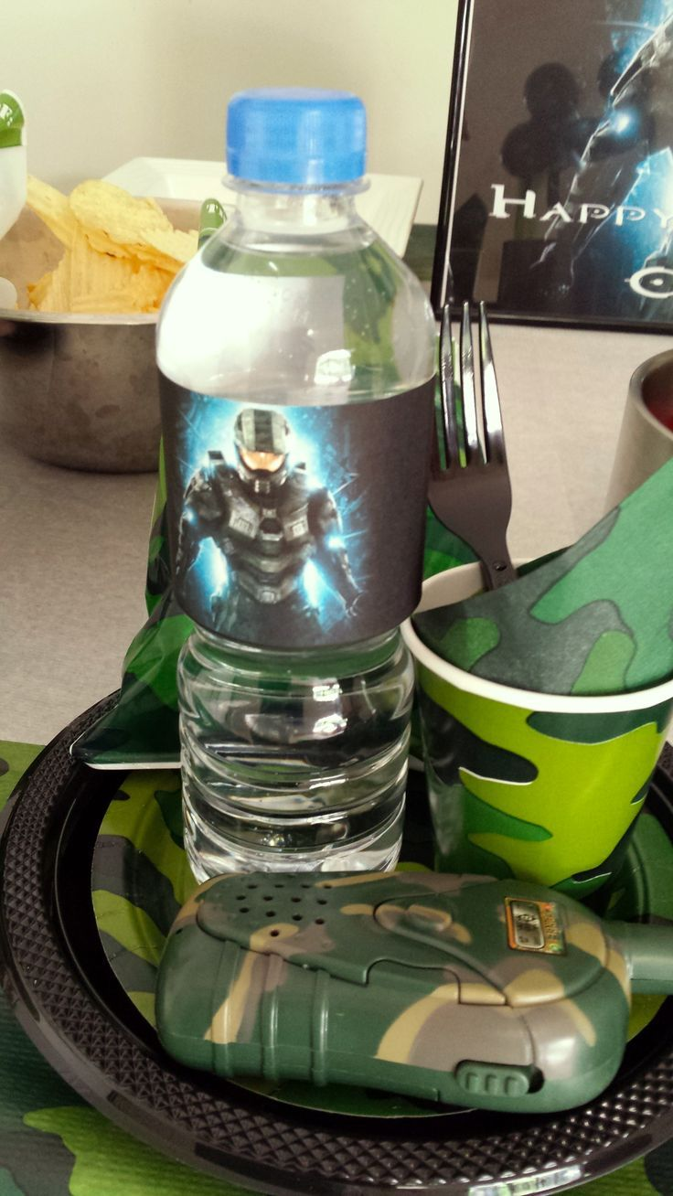 halo Party Theme Favors   HALO BIRTHDAY PARTY Each got a party pack with 'Halo' water, walkie ...
