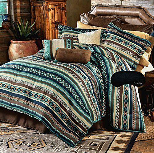 Southwest Dreams Turquoise Native American California King Comforter, 2 Shams, 3 Decorative Pillows, 1 Bedskirt + Home Style Brand Sleep Mask Southwestern Lodge Cabin (8 Pc. Bedding Bundle), http://www.amazon.com/dp/B01C55S92S/ref=cm_sw_r_pi_awdm_x_5HrdybHKVDFAV