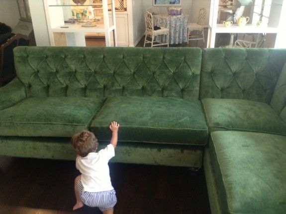 Custom Green Tufted Velvet Sectional #projectholly By Bailey McCarthy
