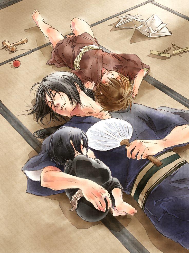 Hakuouki Shinsengumi Kitan, Hijikata, Okita, Saito....so after movie 2 what if the gang was reincarnated as his kids? *_*