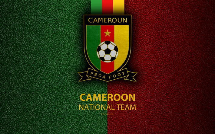 Download wallpapers Cameroon national football team, 4k, leather texture, Africa, emblem, logo, Cameroon, football