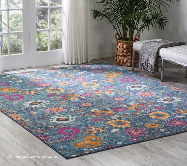 New Flower Pion Denim Rug A Blue With Multi Coloured