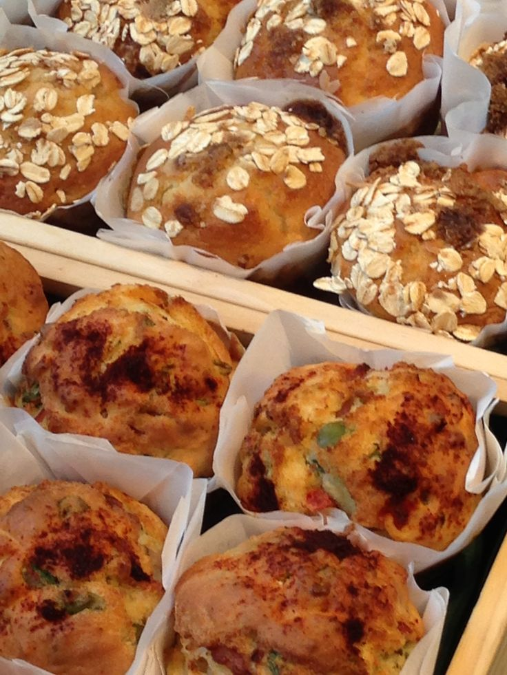 Freshly baked muffins – choose from either sweet or savoury options