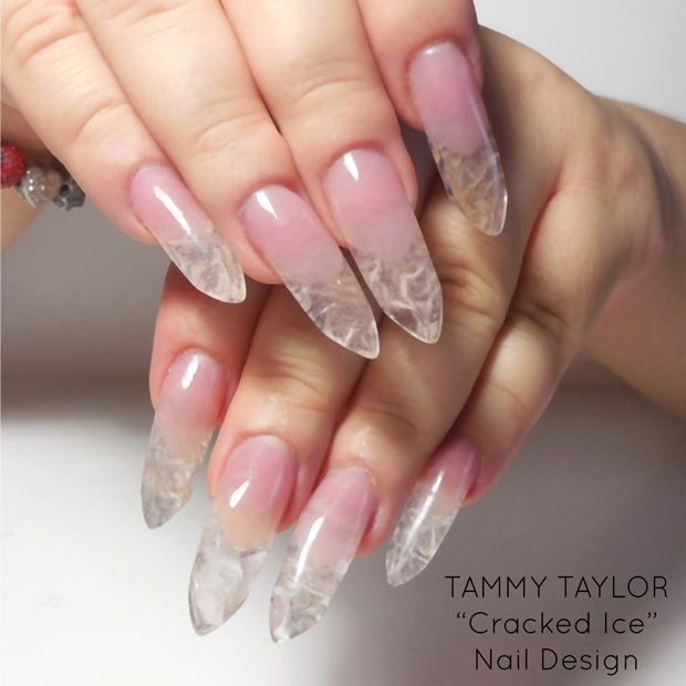 ♥ Tammy Taylor Cracked Ice Nail Design