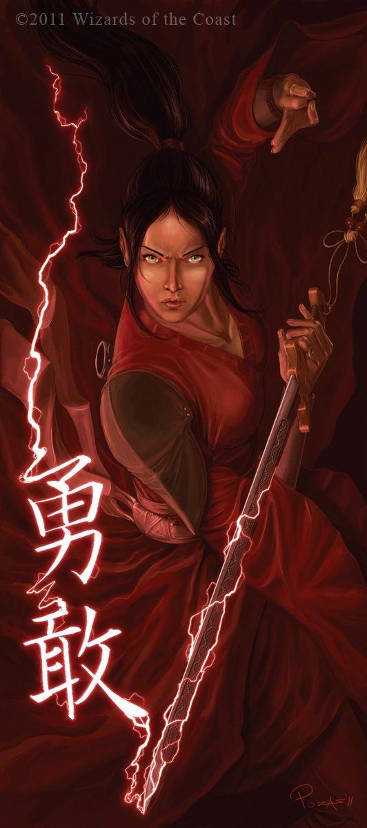 Zihra, the red samurai. Female samurai, half-elf samurai, asian, concept art, fantasy character, DnD, D&D, RPG.