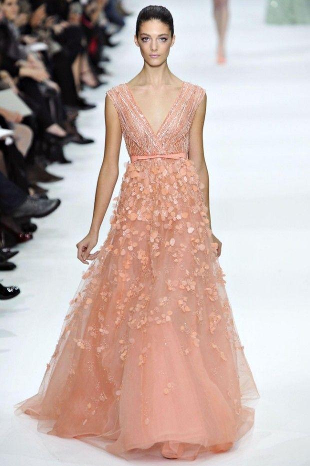 peach dress from elie saab 2012 2013