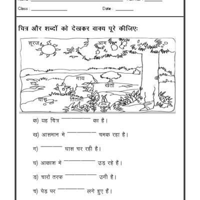 Hindi Worksheet - Picture Description-01
