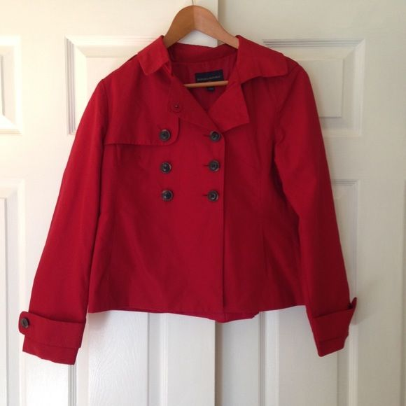 Banana Republic Peacoat Rain Jacket Pretty feminine women's red pea coat rain jacket from Banana Republic. Fits between small and medium. Only worn a few times, but in perfect condition. Lightweight and beautiful! Banana Republic Jackets & Coats