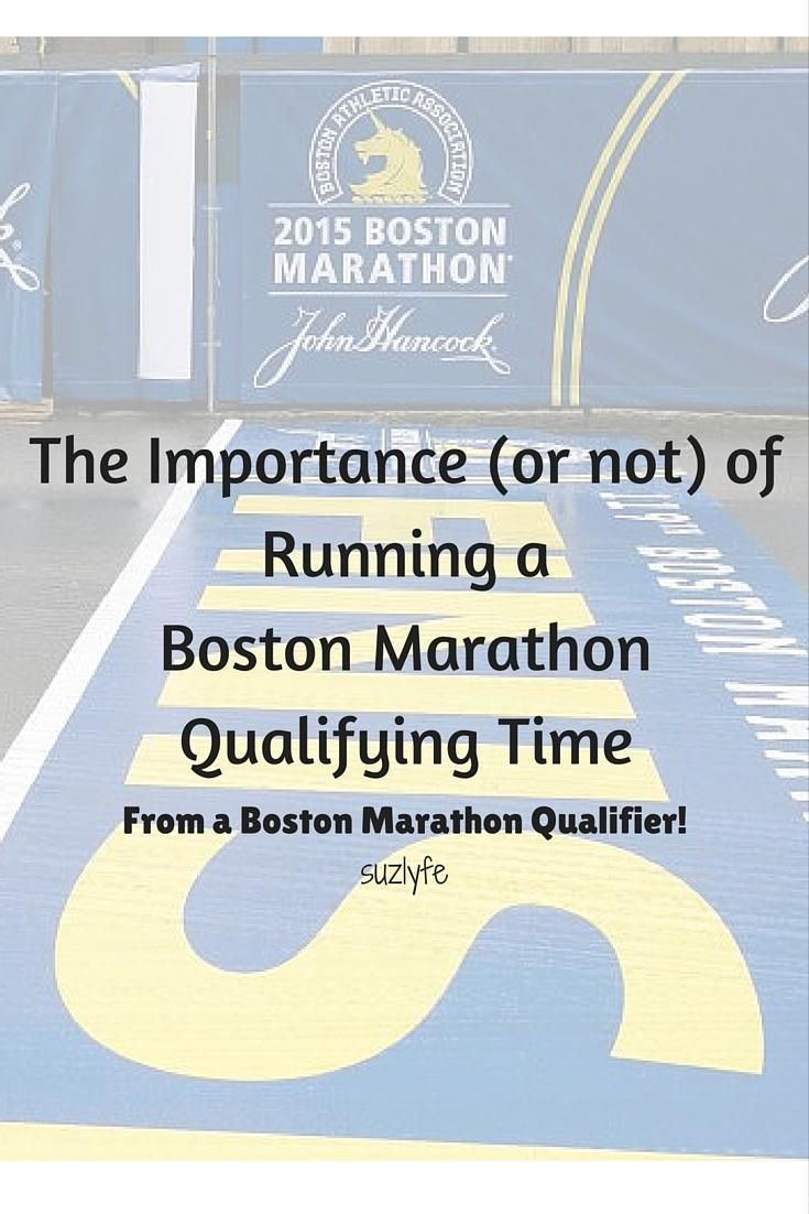 How important (really) is running a Boston Marathon Qualifying Time (BQ) in your life as a runner? @Suzlyfe who has qualified 2x offers her thoughts. http://suzlyfe.com/thoughts-on-running-a-bq-boston-marathon-qualifying-times/