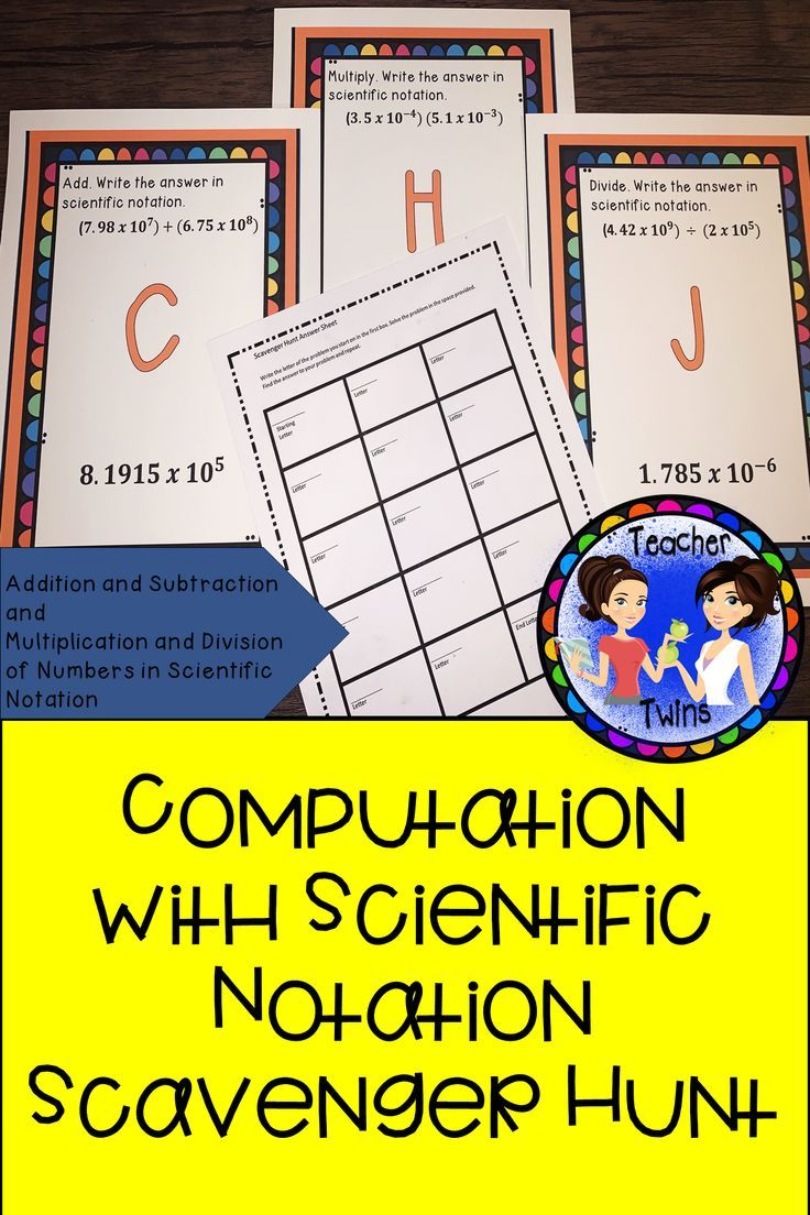 Add Subtract Multiply And Divide Numbers In Scientific Notation Answers Are In Sc Pre Algebra Activities Scientific Notation Maths Activities Middle School Addition and subtraction scientific