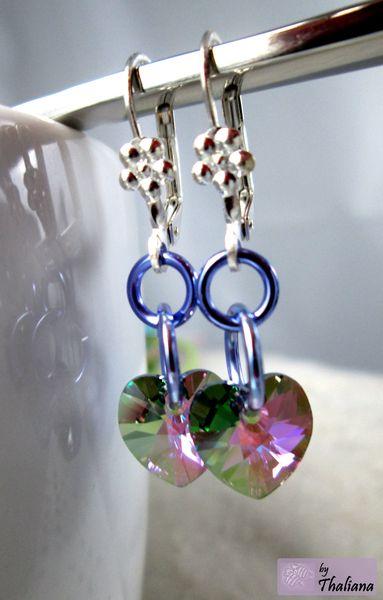 Herzohrringe ♥♥♥ HERZPENDEL ♥♥♥ Ohrringe Lila Grün bunt violett von Thaliana - Funkeln in allen Facetten! auf DaWanda.com