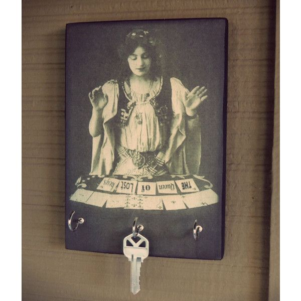 Key Holder Gypsy Tarot Card Reader the Queen of Lost Keys Key Holder... (36 CAD) ❤ liked on Polyvore featuring home, home decor, wall art, grey, home & living, home décor, wall décor, wall hangings, wood home decor and wooden wall art