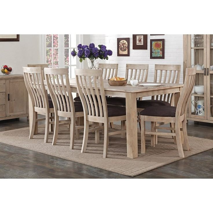 Sancho Recycled Pine Timber 9 Piece Dining Set