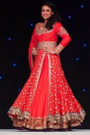 parineeti-chopra-Manish Malhotra orange bridal