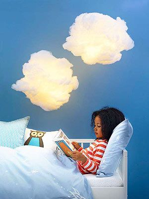 Make Your Own Cloud Pendant - use paper lantern with cool LED bulbs, then glue on fake snow. hang with filament or thread