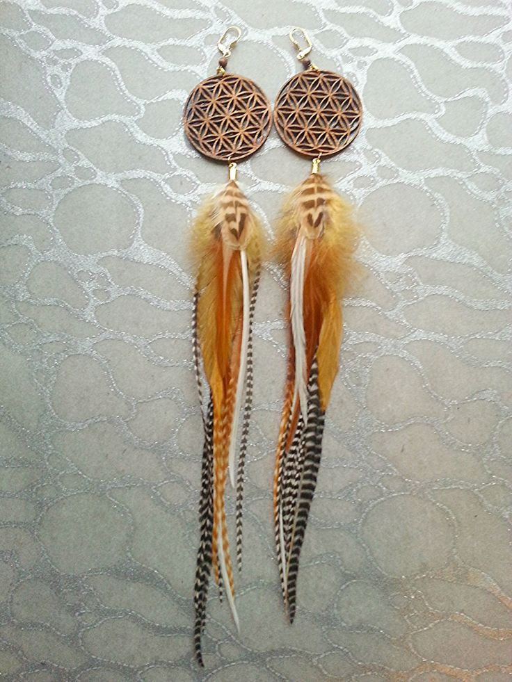 Feather Earrings - Laser Cut Wood Flower of Life - Brown Tan Ginger White Black Stripes Sacred Geometry Seed of Life Natural Woodstain Birch by MEDICINAdesigns on Etsy