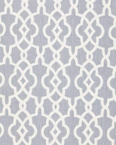 """Summer Palace Fret Fabric by F. Schumacher & Co.  A fresh fretwork pattern like this makes an easy and appealing addition to any room. I'd pair with a floral and use in a bathroom or feminine bedroom, but there really are innumerable styles and applications for which it could be used.    Dimensions: 54"""" width. 8"""" vertical pattern repeat. Made of 100% linen. Available in 4 colorways. Also comes in wallpaper."""