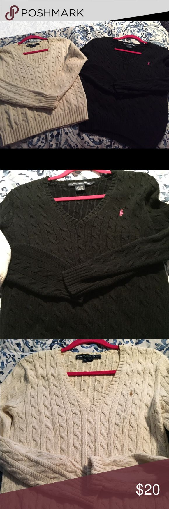 Bundle of 2 Ralph Lauren sweaters. Bundle of 2 Ralph Lauren Women's sweaters. One Black and one cream. Price is for both sweaters. Size Large. Ralph Lauren runs small so fits like a Medium100 percent cotton. Ralph Lauren Sweaters V-Necks