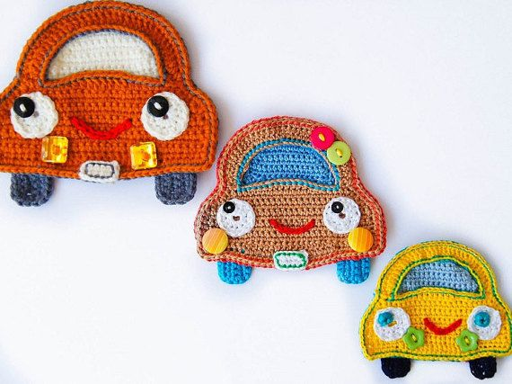 Crochet Pattern - Car Applique - Instant Download, boys applique crochet pattern, crochet pattern for kids