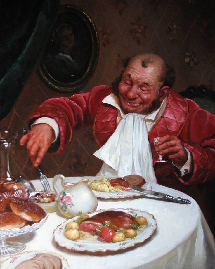 человек славился картинка за ужином съедай все в тарелке прикольная нем
