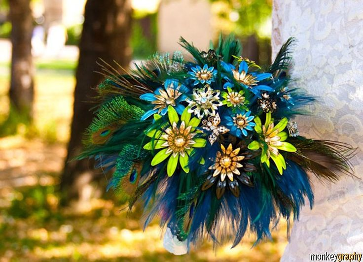 Bridal brooch bouquet  with feather PEACOCK PRIDE  - wedding keepsake made by hairbowswonderworld. $575.00, via Etsy.
