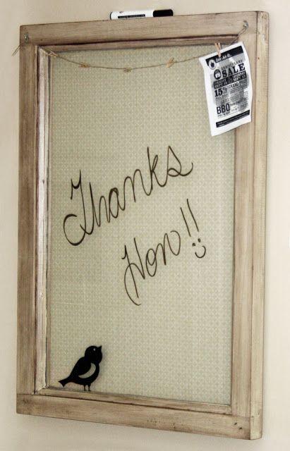 knot•sew•cute design shop: getting organized - DIY dry erase board.