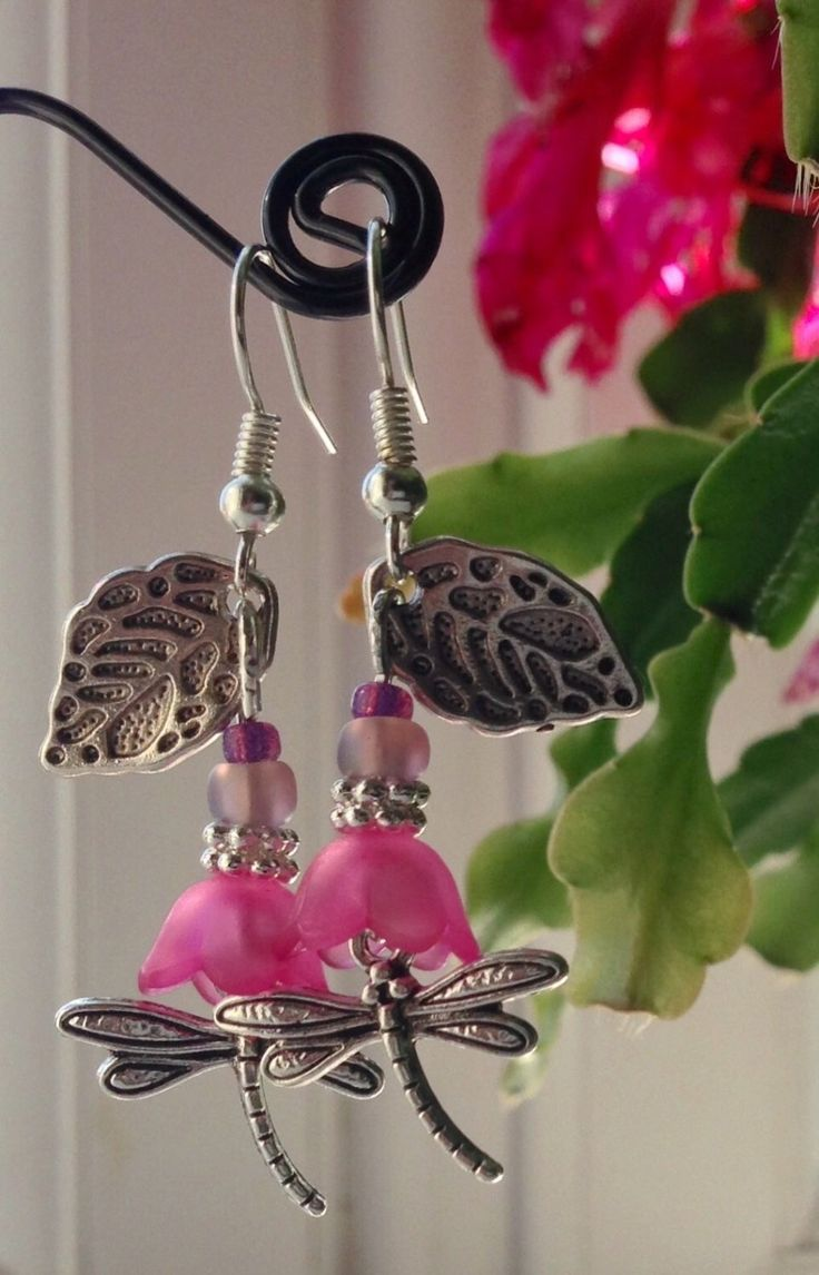 Pink and silver dragonfly drop earrings