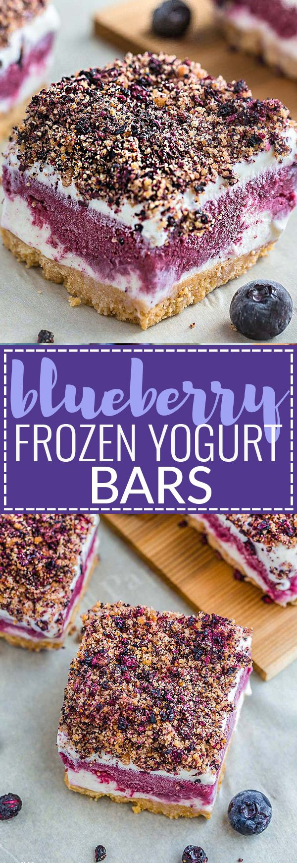 Blueberry Frozen Yogurt Bars are the perfect cool treat on a hot summer day. They're a healthier blueberry version of the classic Strawberry Shortcake Good Humor Ice Cream popsicles. Best of all, they're, so easy to make with delicious layers of vanilla and blueberry frozen yogurt, a crumbled shortbread topping & no-bake cookie crust.