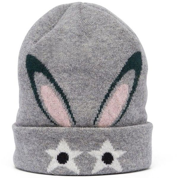 Mcm Bunnie Beanie ($195) ❤ liked on Polyvore featuring accessories, hats, silver shadow, mcm, beanie caps, bunny hat, beanie hat and bunny beanie