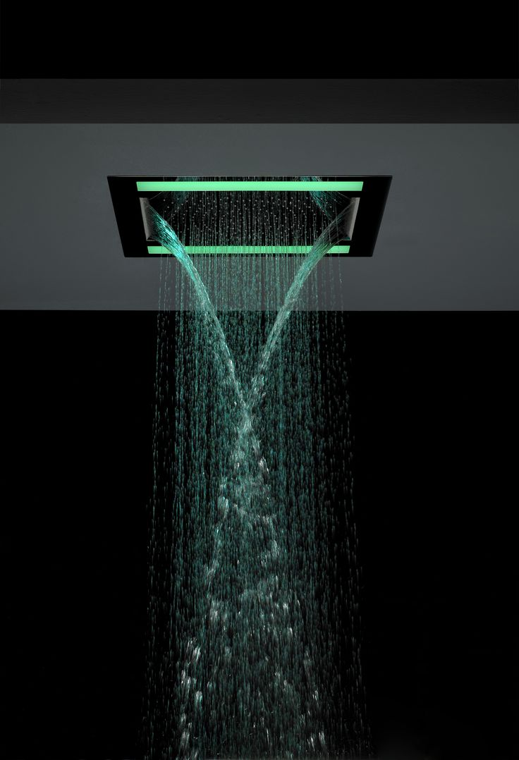 Illuminate your shower with a choice of green, red or purple LED lights to achieve a spectacular visual effect - Rio Revive LED 600mm Square Shower Head with double waterfall feature from Crosswater. http://www.crosswater.co.uk/product/shower-heads-over-300mm/rio-revive-fixed-heads/