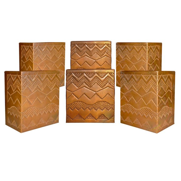 Set of six copper southwestern inspired wall sconces