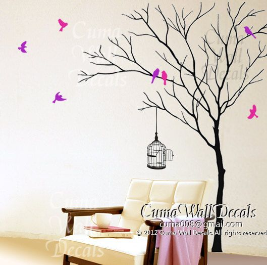tree wall decal birds birdcage, wall mural children  wall sticker nursery graphic vinyl wall art - winter tree birds Z171 by cuma